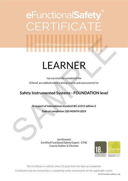 eLP003: Safety Instrumented Systems Foundation Online E-Learning