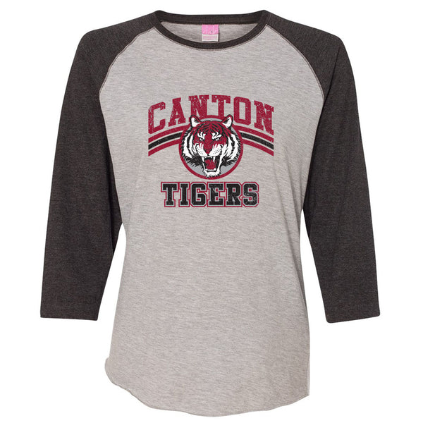 Canton Tiger Ladies Baseball Tee Vintage Tiger