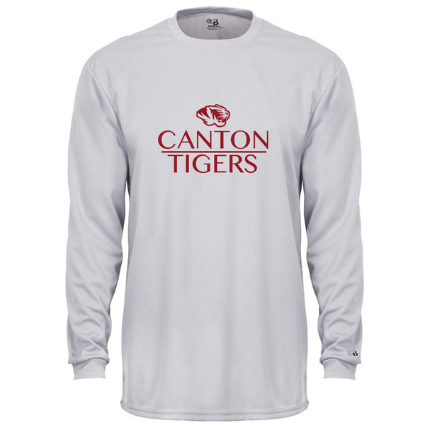 Canton Youth Drifit Long Sleeve Stack Tiger