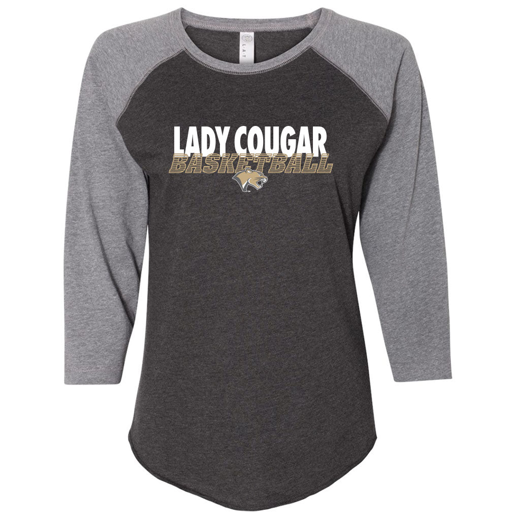Highland Basketball Ladies Baseball T-Shirt