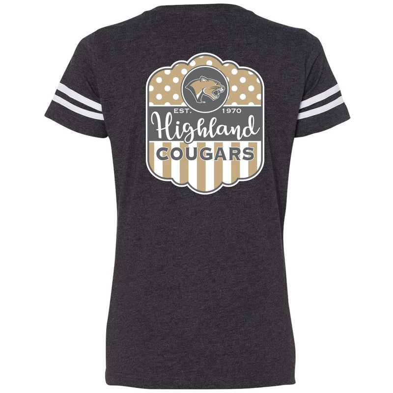Highland Ladies V-Neck Vintage T-Shirt HHS Design