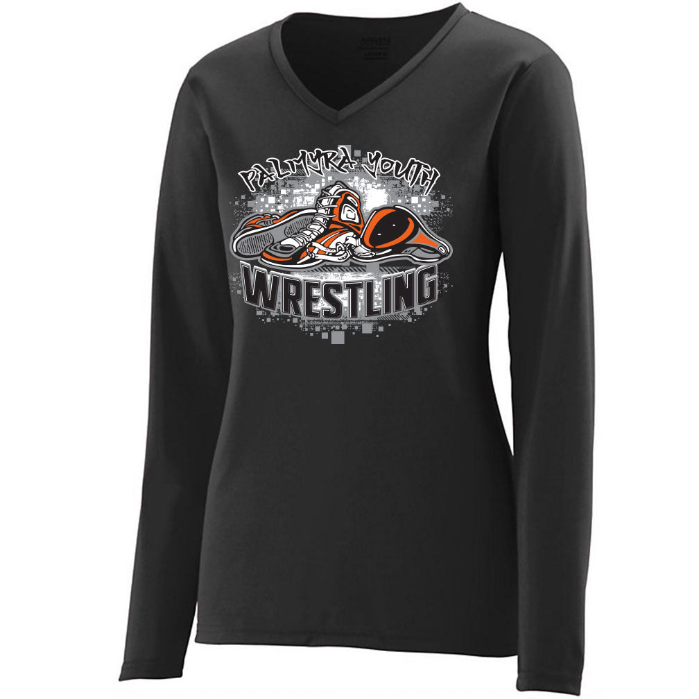 Palmyra Wrestling Drifit Women's V-Neck Long Sleeve