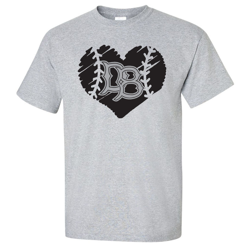 Gray t-shit with black sketched heart. Inside the heart are stitches to mimic a baseball and the letters DB in the Dirtbags font.