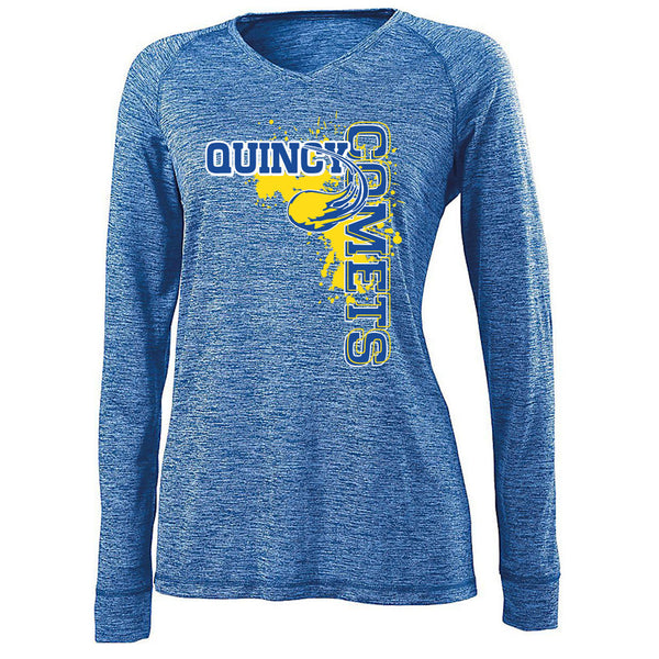 Quincy Comets Ladies Electrify V-Neck Long Sleeve