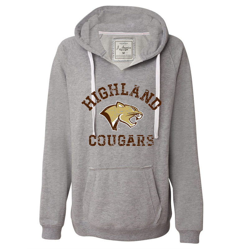Highland Football Ladies Sueded V-Neck Hoodie