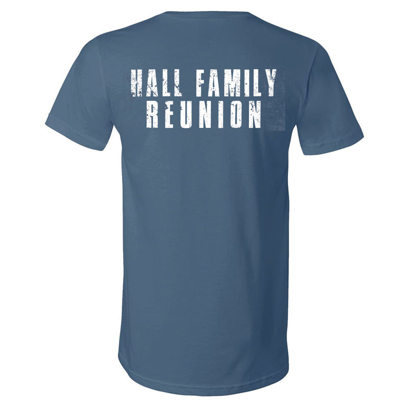 Hall Family Reunion Steel Blue V-Neck Tee