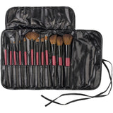 Karity Cosmetics Studio 12-Piece Natural Hair Makeup Brush Set With Pouch - Red