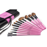 Karity Cosmetics Studio 12-Piece Natural Hair Makeup Brush Set With Pouch - Pink