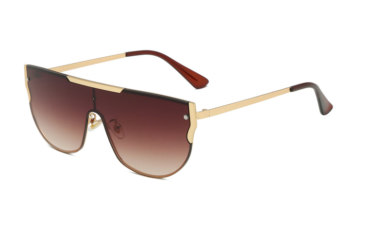 Leland | 58156 - Flat Top Retro Metal Round Fashion Sunglasses
