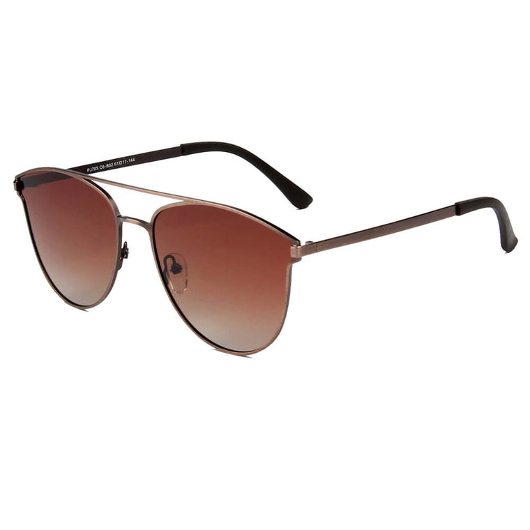 ALMONTE | SHIVEDA PJ705 - Women Flat Lens Polarized Round Fashion Aviator Sunglasses - Cramilo Eyewear