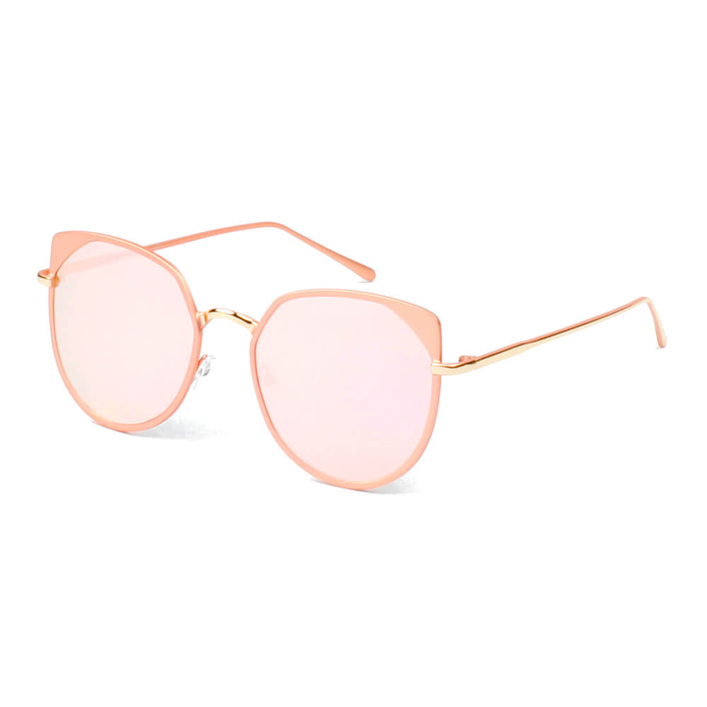 HERSHEY | A17 - Women's Flat Lens Metal Frame Cat Eye Sunglasses - Cramilo Eyewear - Stylish Trendy Affordable Sunglasses Clear Glasses Eye Wear Fashion