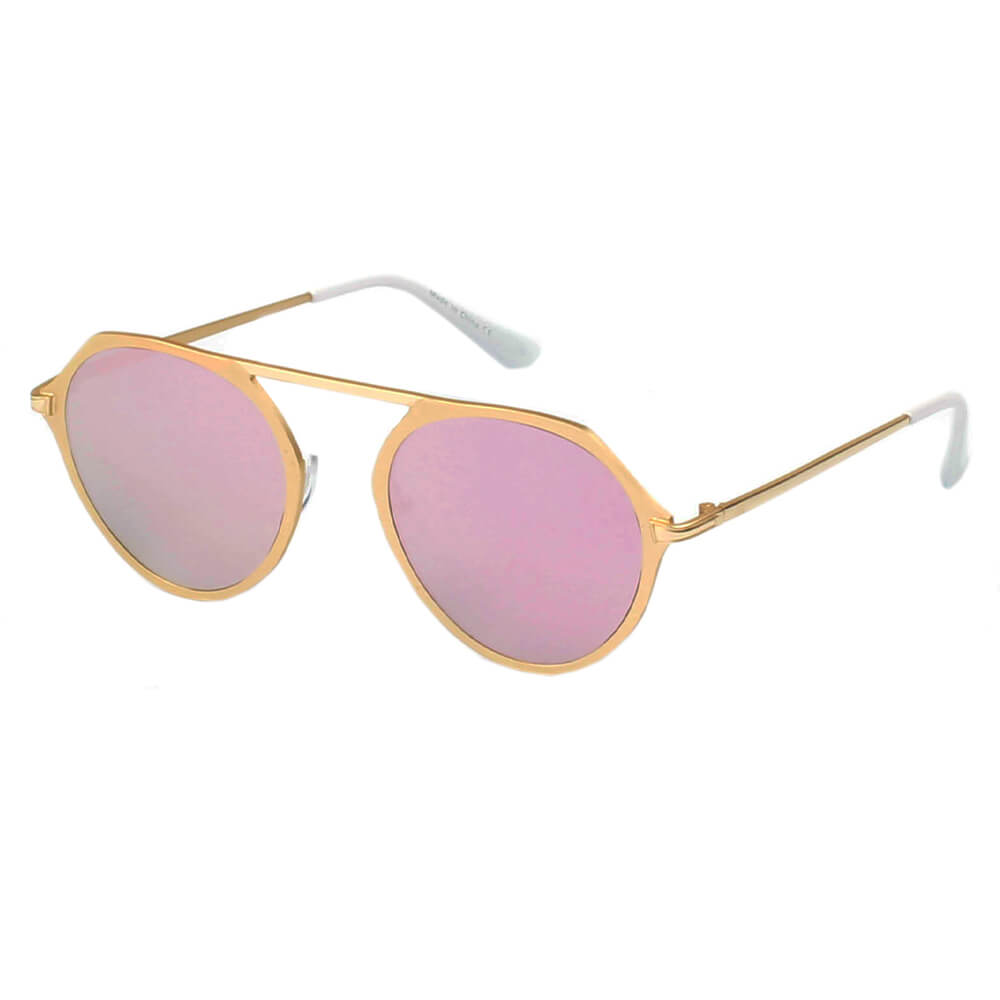 DRESDEN | A19 - Modern Flat Top Slender Round Sunglasses - Cramilo Eyewear - Stylish Trendy Affordable Sunglasses Clear Glasses Eye Wear Fashion