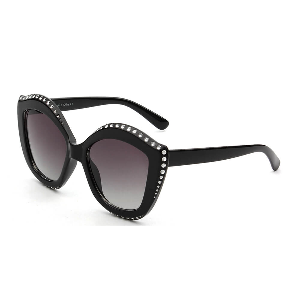 ANGOLA | S1092 - Women Oversized Round Cat Eye Fashion Sunglasses - Cramilo Eyewear - Stylish Trendy Affordable Sunglasses Clear Glasses Eye Wear Fashion