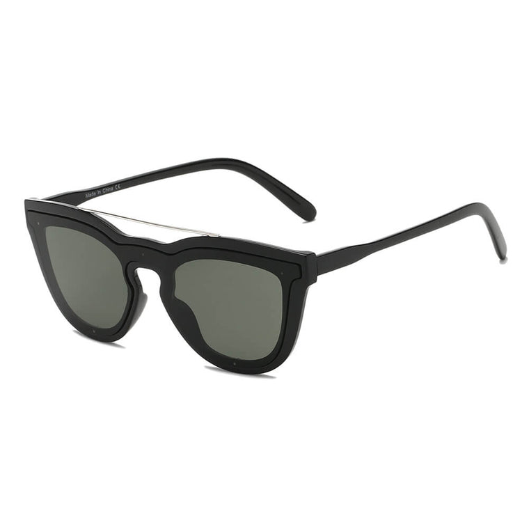 AIEA | S2064 - Unisex Fashion Brow-Bar Single Flat Lens Round Sunglasses - Cramilo Eyewear