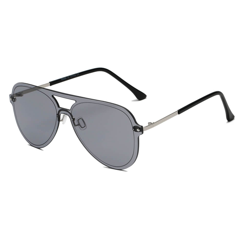 BELFAST | S2065 - Unisex Flat Single Lens Aviator Fashion Sunglasses - Cramilo Eyewear - Stylish Trendy Affordable Sunglasses Clear Glasses Eye Wear Fashion
