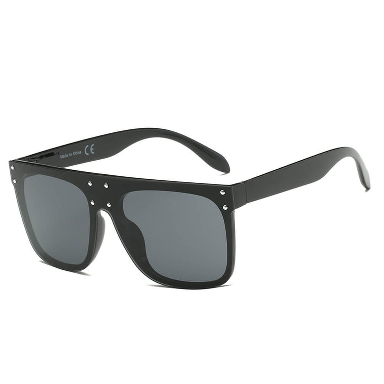 AKRON | S2060 - Flat Top Oversize Mirrored Square Sunglasses Circle - Cramilo Eyewear - Stylish Trendy Affordable Sunglasses Clear Glasses Eye Wear Fashion