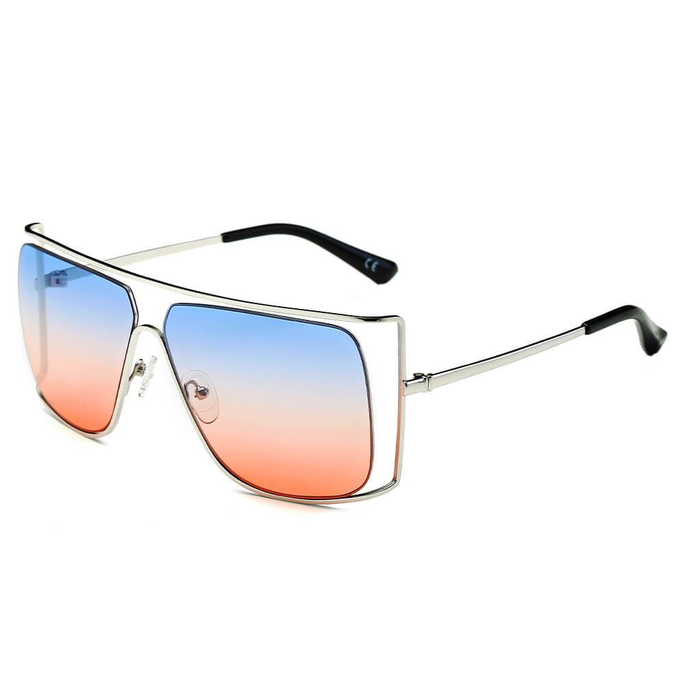 HAMEL | CA01 - Women's Trendy Oversize Flat Top Metal Frame Sunglasses - Cramilo Eyewear - Stylish Trendy Affordable Sunglasses Clear Glasses Eye Wear Fashion