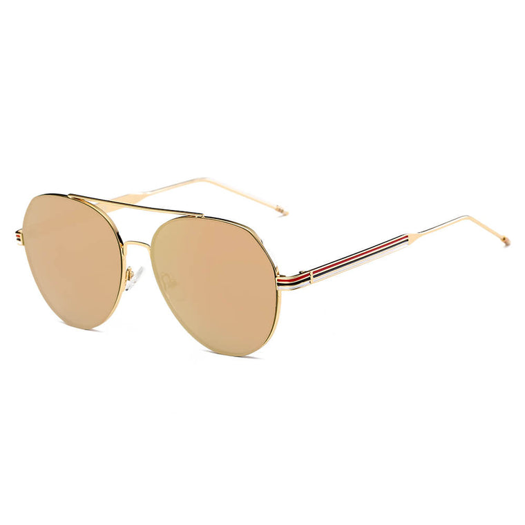 ERIE | S2006 - Modern Teardrop Aviator Flat Mirrored Flat Lens Sunglasses - Cramilo Eyewear - Stylish Trendy Affordable Sunglasses Clear Glasses Eye Wear Fashion