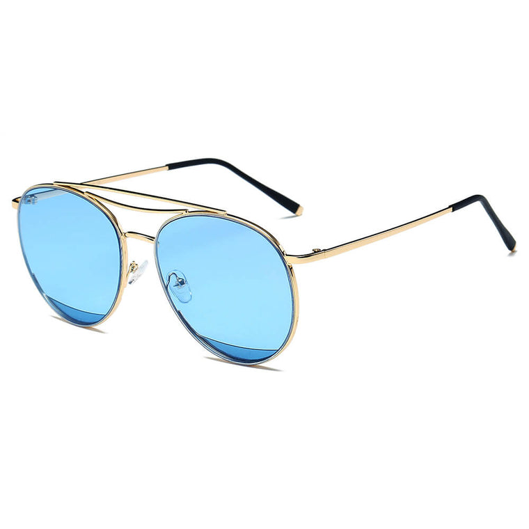 LOWELL | S2034 - Unisex Round Double Brow Bar Aviator Style Sunglasses - Cramilo Eyewear - Stylish Trendy Affordable Sunglasses Clear Glasses Eye Wear Fashion