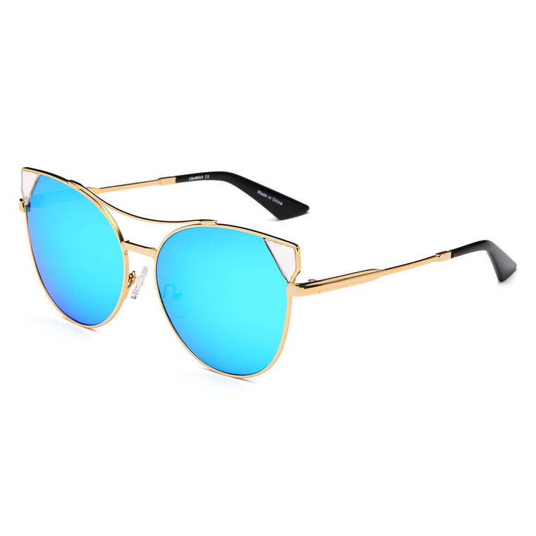 ASPEN | CA02K - Womens Trendy Mirrored Lens Cat Eye Sunglasses - Cramilo Eyewear
