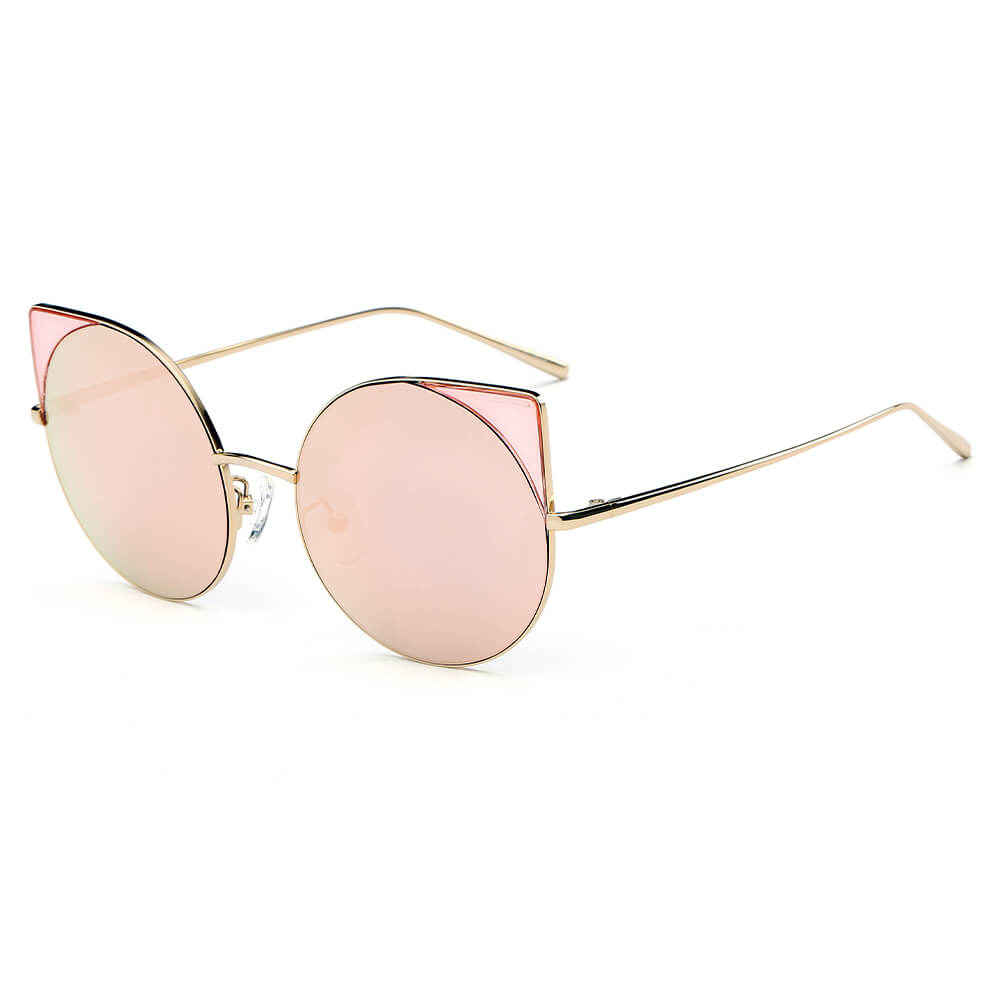 DUBLIN | CA03 - Women Mirrored Lens Round Cat Eye Sunglasses - Cramilo Eyewear - Stylish Trendy Affordable Sunglasses Clear Glasses Eye Wear Fashion