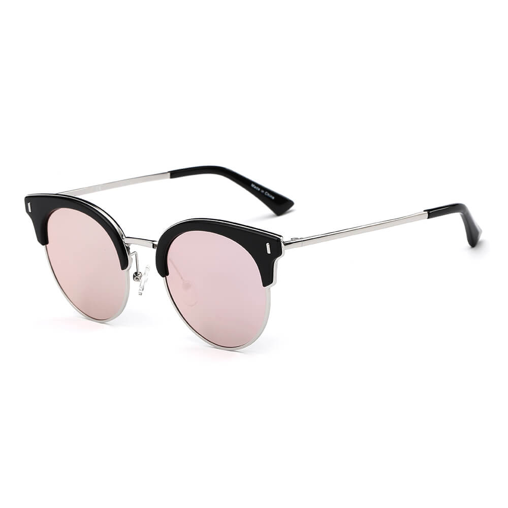 BILOXI | CA05K - Women Half Frame Round Cat Eye Polarized Sunglasses - Cramilo Eyewear - Stylish Trendy Affordable Sunglasses Clear Glasses Eye Wear Fashion