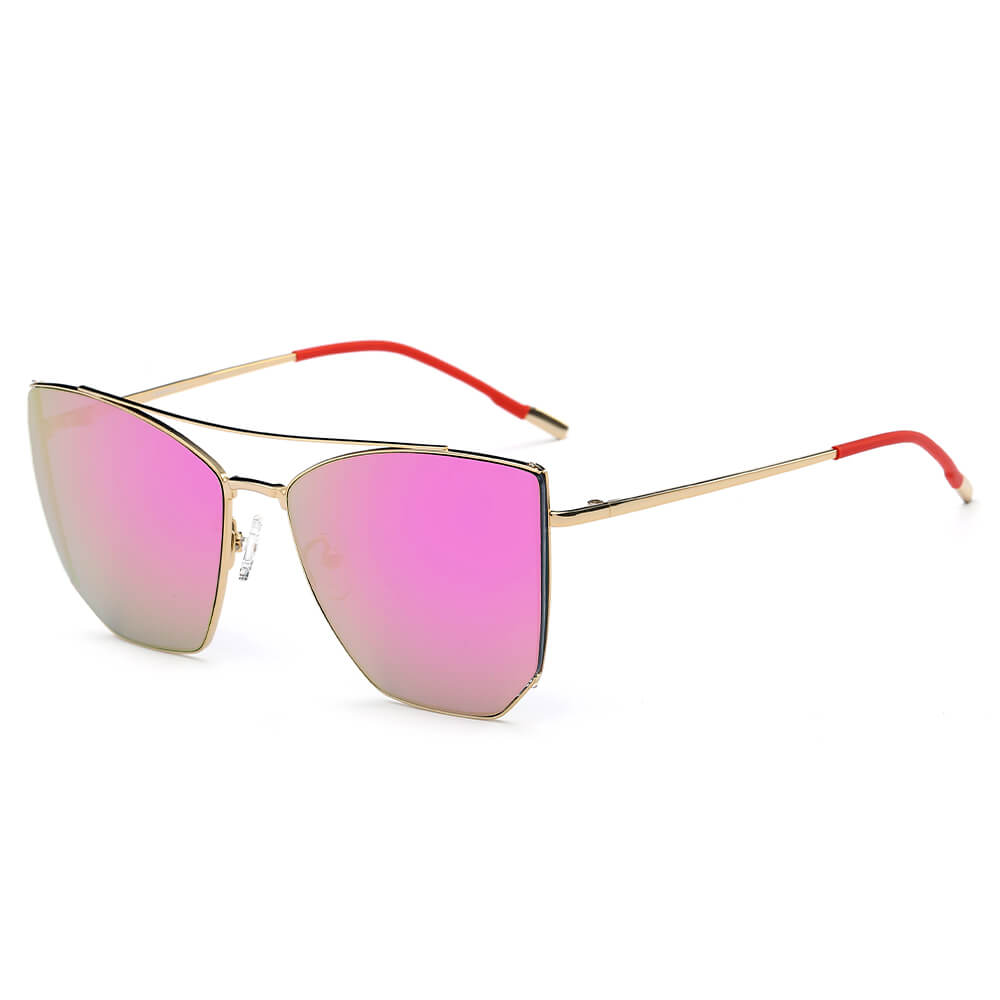 DORSET | CA06 - Oversize Polygon Mirrored Lens Cat Eye Sunglasses - Cramilo Eyewear - Stylish Trendy Affordable Sunglasses Clear Glasses Eye Wear Fashion
