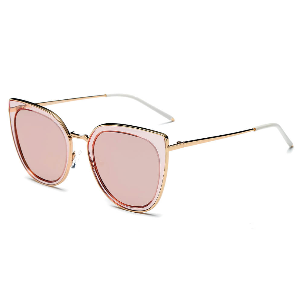 SASKIA | CA11K - Womens Polarized Cat Eye Fashion Rim Sunglasses - Cramilo Eyewear - Stylish Trendy Affordable Sunglasses Clear Glasses Eye Wear Fashion