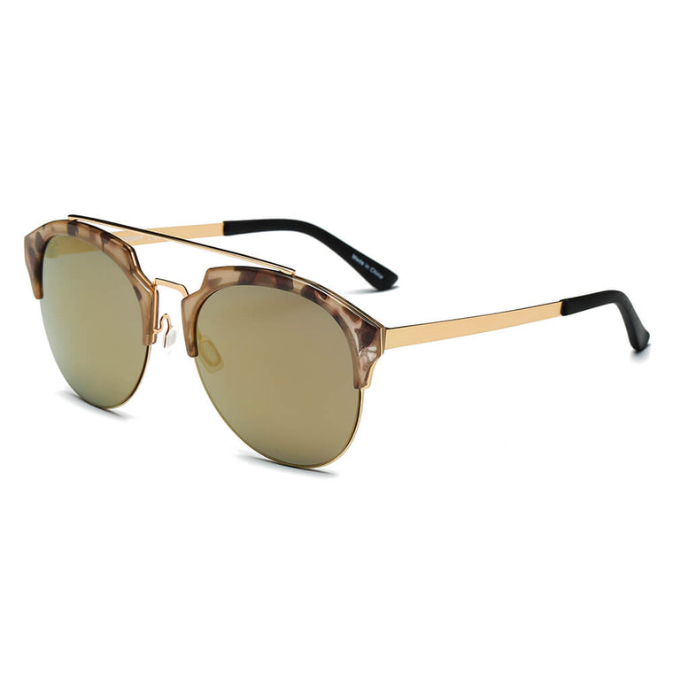 COROLLA | CA15 - Half Frame Mirrored Lens Horned Rim Sunglasses Circle - Cramilo Eyewear - Stylish Trendy Affordable Sunglasses Clear Glasses Eye Wear Fashion