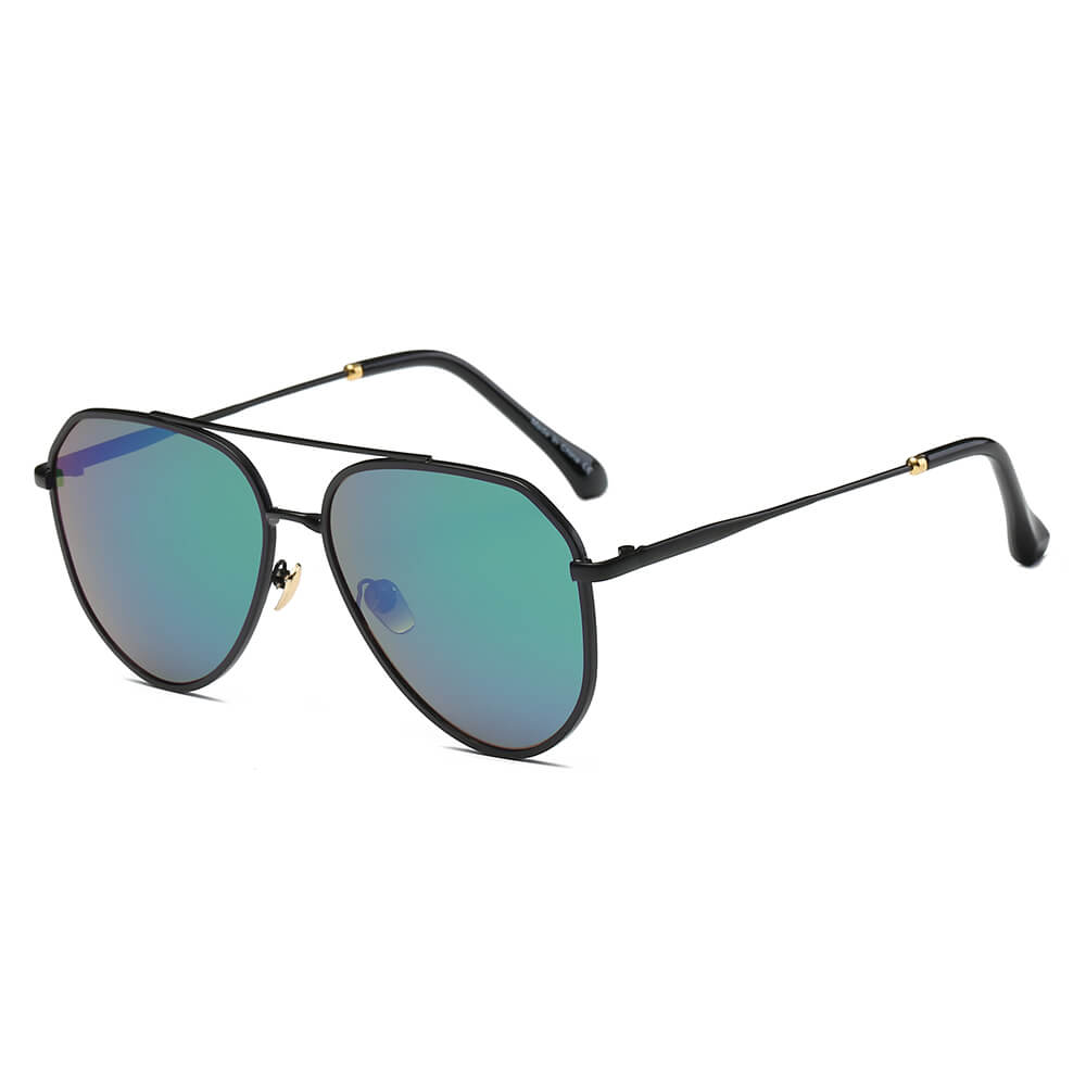 BOSTON | S2046 - Classic Mirrored Aviator Sunglasses - Cramilo Eyewear - Stylish Trendy Affordable Sunglasses Clear Glasses Eye Wear Fashion