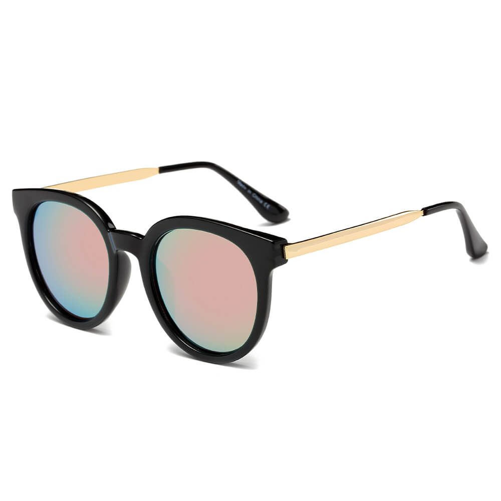 FINDLAY | CD07 - Women's Retro Mirrored Lens Horned Rim Round Sunglasses - Cramilo Eyewear - Stylish Trendy Affordable Sunglasses Clear Glasses Eye Wear Fashion