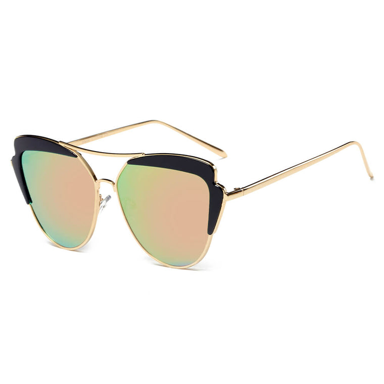 GALVESTON | CD11 - Women's Brow Bar Mirrored Lens Cat Eye Sunglasses - Cramilo Eyewear - Stylish Trendy Affordable Sunglasses Clear Glasses Eye Wear Fashion