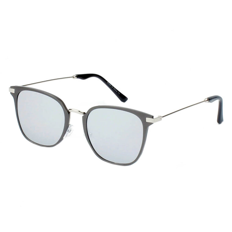 CAMBRIDGE | A22 - Pillowed Rectangle Flat Lens Horned Rim Sunglasses - Cramilo Eyewear - Stylish Trendy Affordable Sunglasses Clear Glasses Eye Wear Fashion