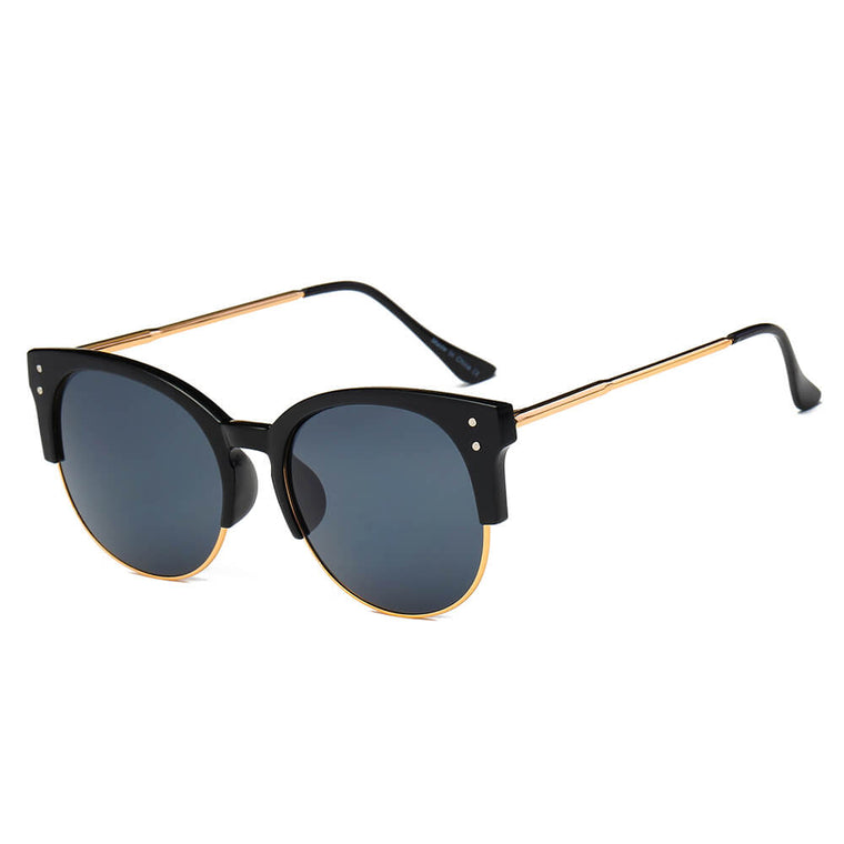 ABANDA | D68 - Round Mirrored Flat Lens Half Frame Sunglasses Circle - Cramilo Eyewear - Stylish Trendy Affordable Sunglasses Clear Glasses Eye Wear Fashion