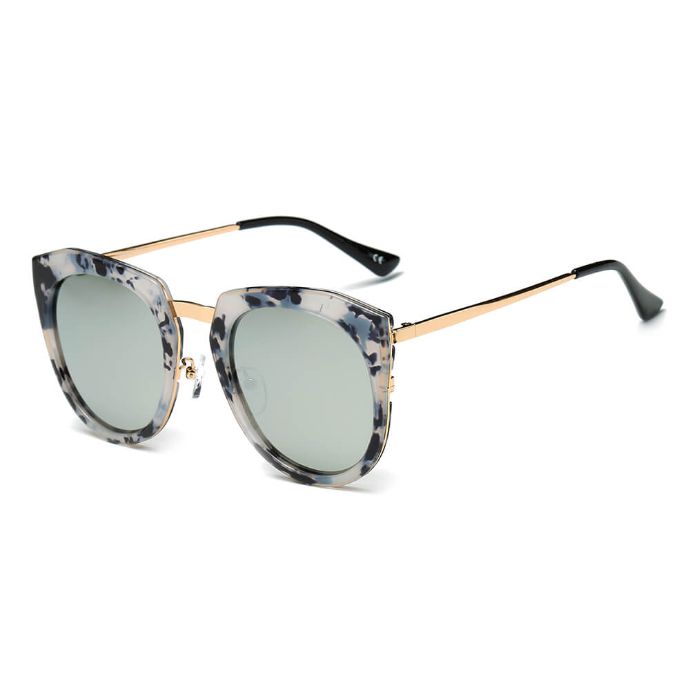 FERNDALE | CA12 - Mirrored Polarized Lens Oversize Cat Eye Sunglasses - Cramilo Eyewear - Stylish Trendy Affordable Sunglasses Clear Glasses Eye Wear Fashion