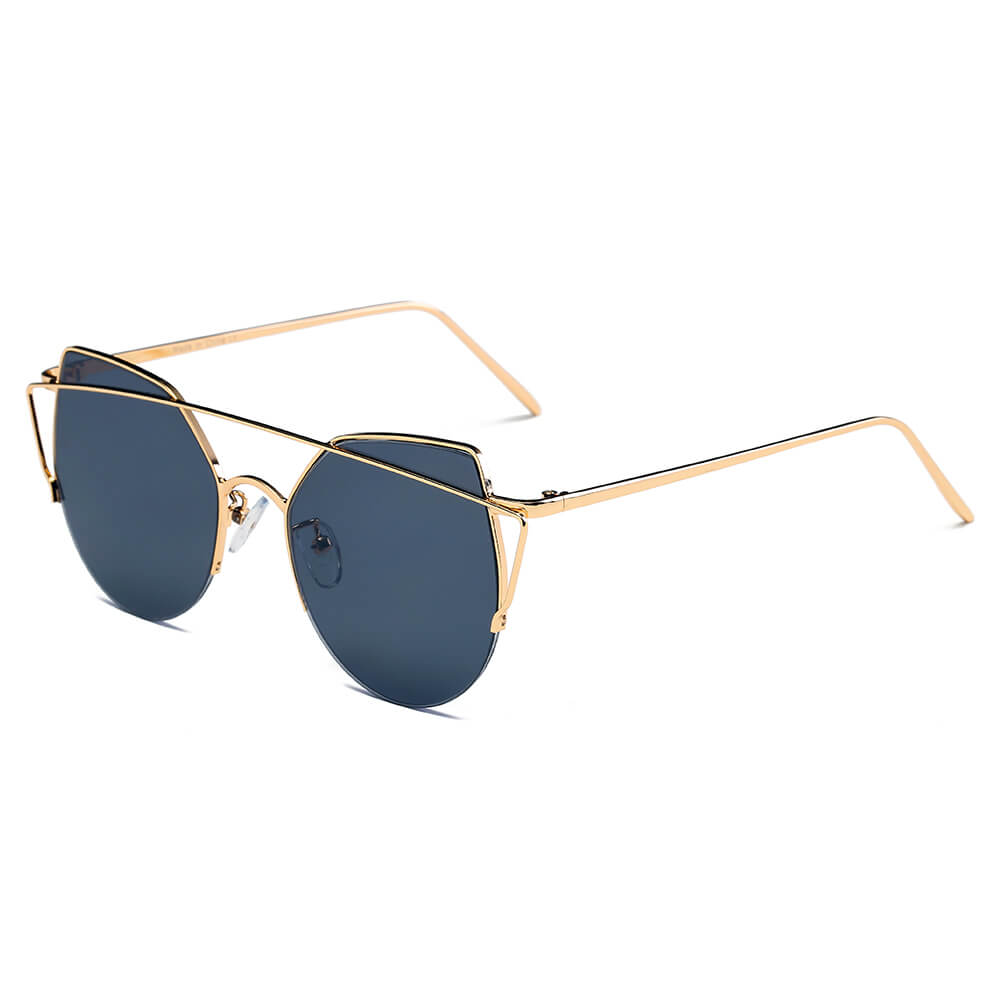 DILLON | D70 - Modern Cat Eye Mirrored Flat Lens Sunglasses Circle - Cramilo Eyewear - Stylish Trendy Affordable Sunglasses Clear Glasses Eye Wear Fashion