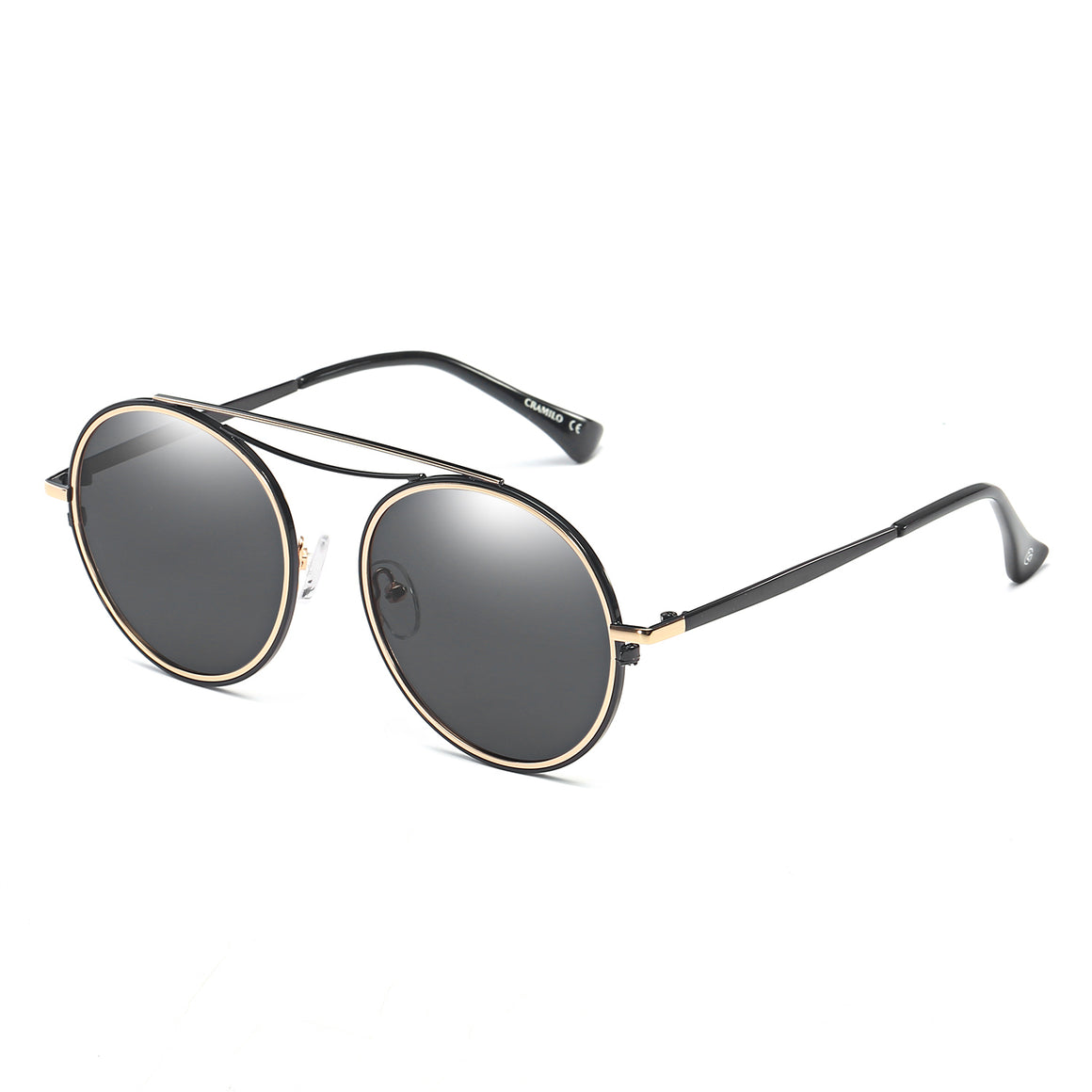 FAIRFAX | CA10 - Polarized Circle Round Brow-Bar Fashion Sunglasses - Cramilo Eyewear - Stylish Trendy Affordable Sunglasses Clear Glasses Eye Wear Fashion