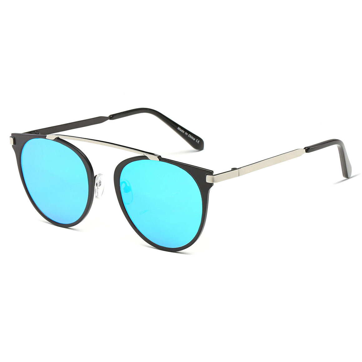 FRISCO | A18 - Modern Horn Rimmed Metal Frame Round Sunglasses - Cramilo Eyewear - Stylish Trendy Affordable Sunglasses Clear Glasses Eye Wear Fashion