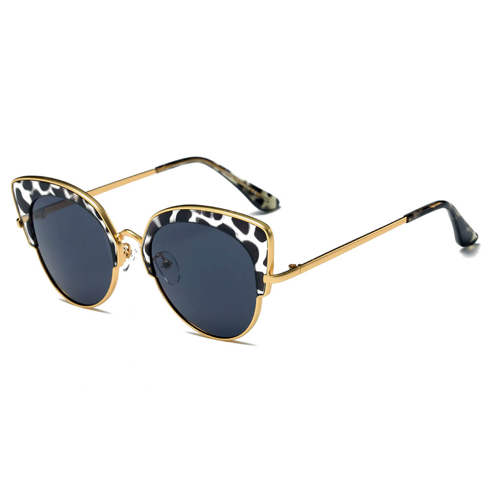 CATOOSA | CD08 - Women Half Frame Round Cat Eye Sunglasses Circle - Cramilo Eyewear - Stylish Trendy Affordable Sunglasses Clear Glasses Eye Wear Fashion