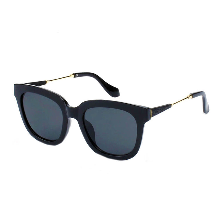 CHICAGO | 299 - Horn Rimmed Retro Boxy Square Accent Frame Sunglasses - Cramilo Eyewear