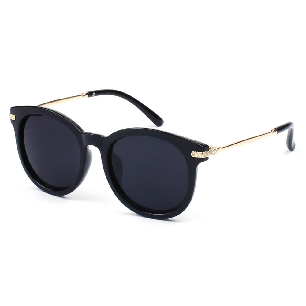 BRUSSELS | 289 - Round P3 Horn Rimmed Sunglasses with Embossed Hinges - Cramilo Eyewear