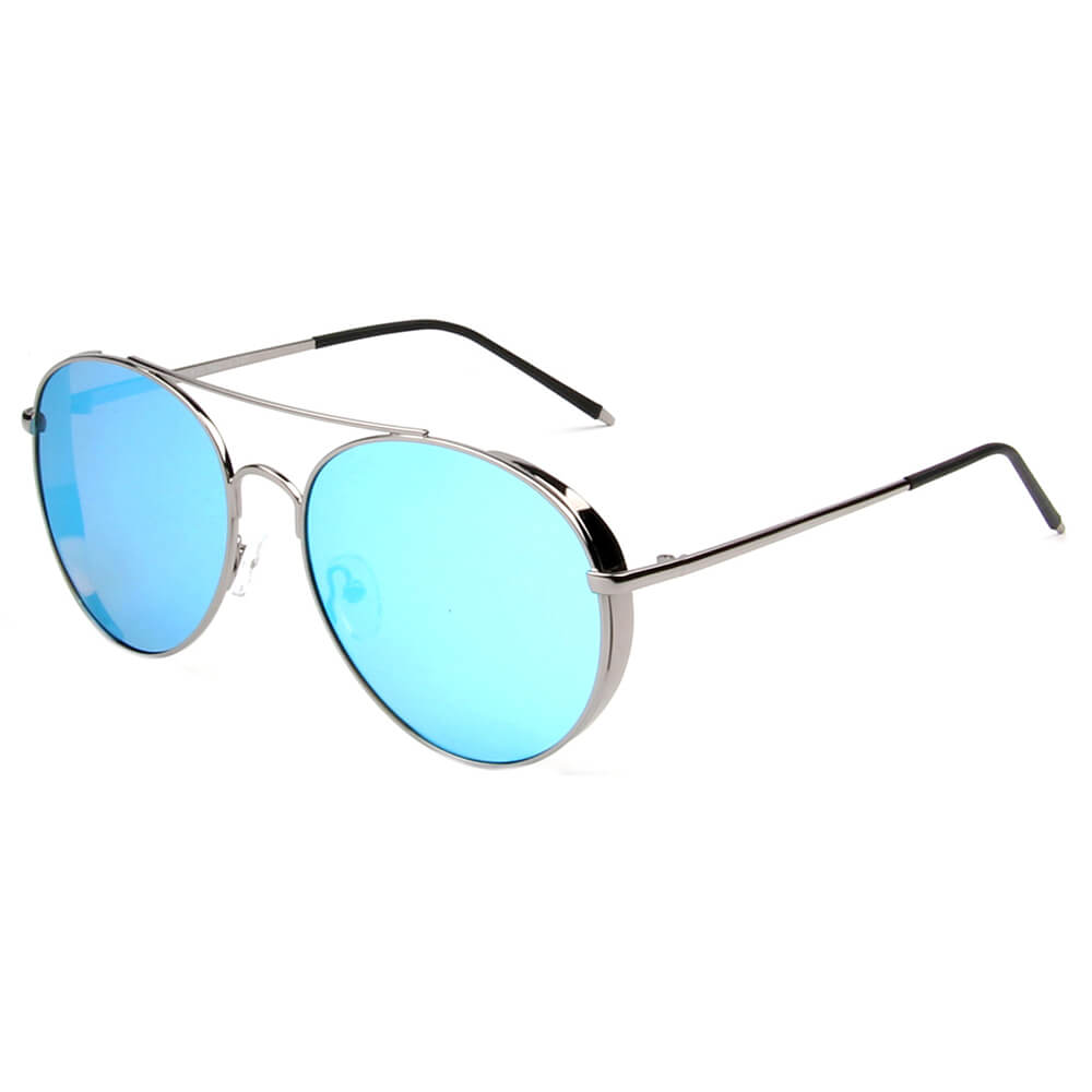 BAZA | SHIVEDA PJ721 - Classic Cover Polarized Mirrored Shield Aviator Sunglasses - Cramilo Eyewear - Stylish Trendy Affordable Sunglasses Clear Glasses Eye Wear Fashion