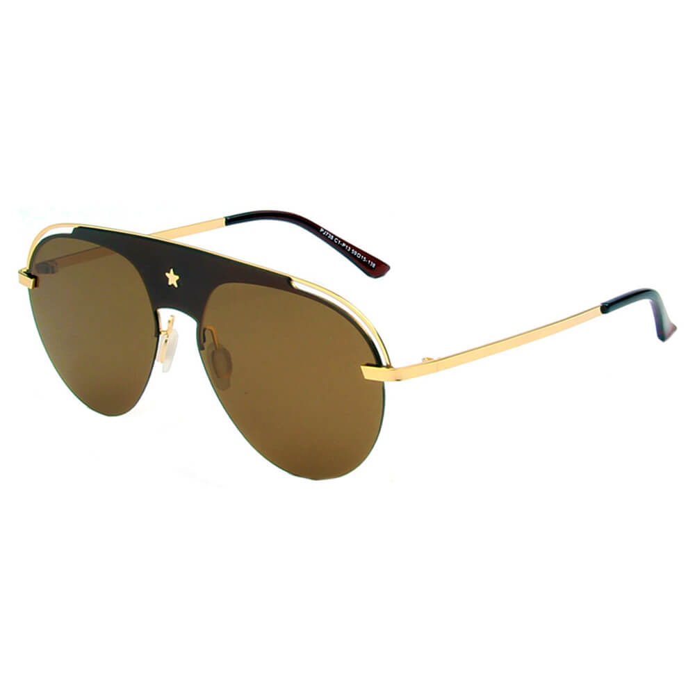 OVIEDO | SHIVEDA PJ738 - Classic Polarized Aviator Fashion Ornate Brow Bar Sunglasses - Cramilo Eyewear - Stylish Trendy Affordable Sunglasses Clear Glasses Eye Wear Fashion