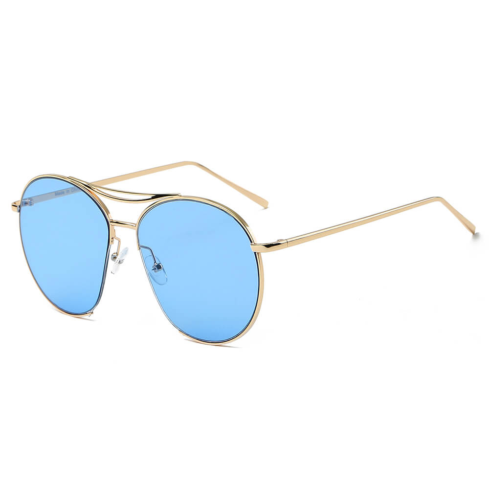 LOUDON | S2036 - Oversize Tinted Lens Round Aviator Sunglasses - Cramilo Eyewear - Stylish Trendy Affordable Sunglasses Clear Glasses Eye Wear Fashion