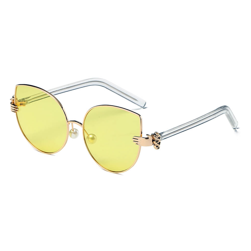CENTRALIA | S2042 - Women Metal Frame Cat Eye Hands Classic Sunglasses - Cramilo Eyewear - Stylish Trendy Affordable Sunglasses Clear Glasses Eye Wear Fashion