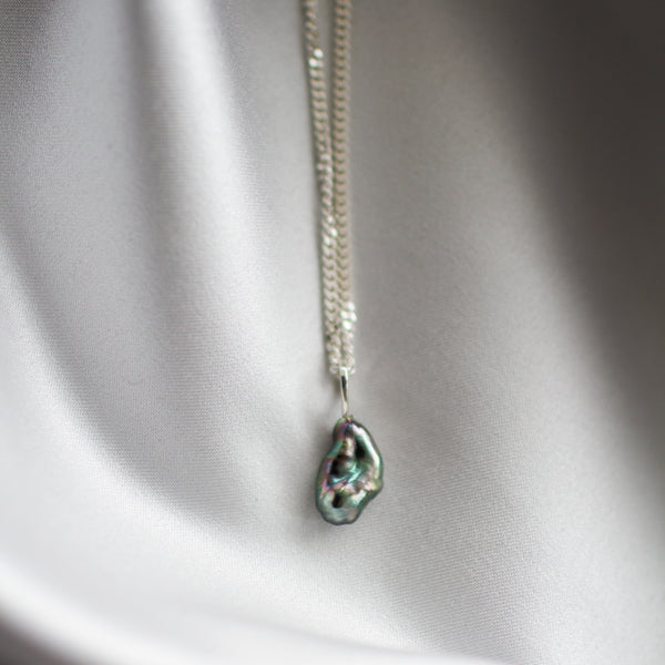 Keshi Pearl Necklace Silver