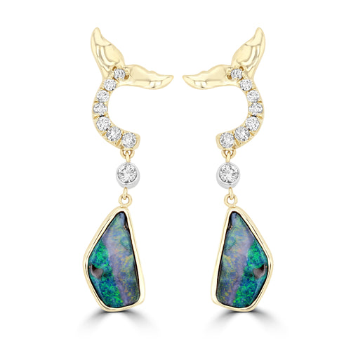 14K Yellow Gold Australian Boulder Opal 4.08cts TGW & RBC Diamond 0.32cts TDW Earrings