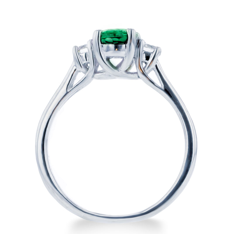 1.0ct Emerald Ring With .25ct Diamonds 14k White Gold