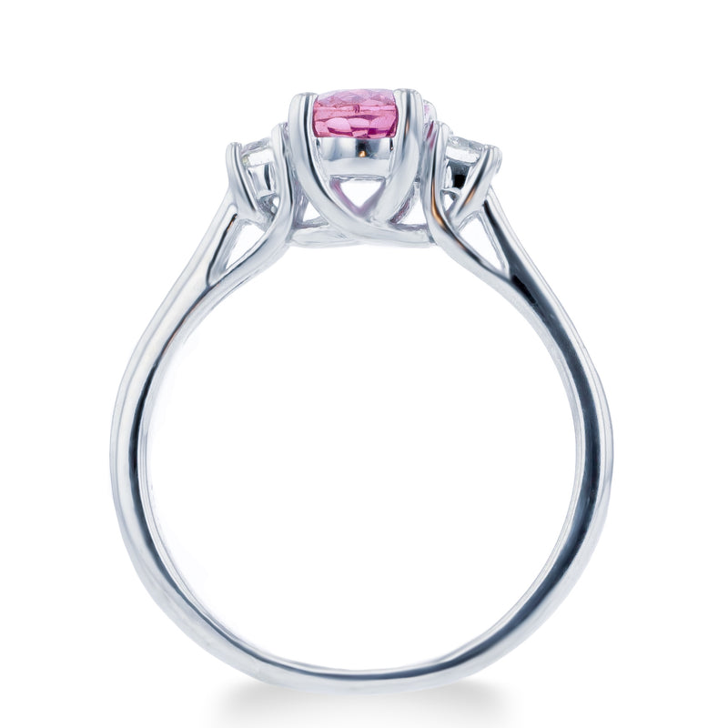 1.0ct Pink Sapphire Ring With .25ct Diamonds 14k White Gold
