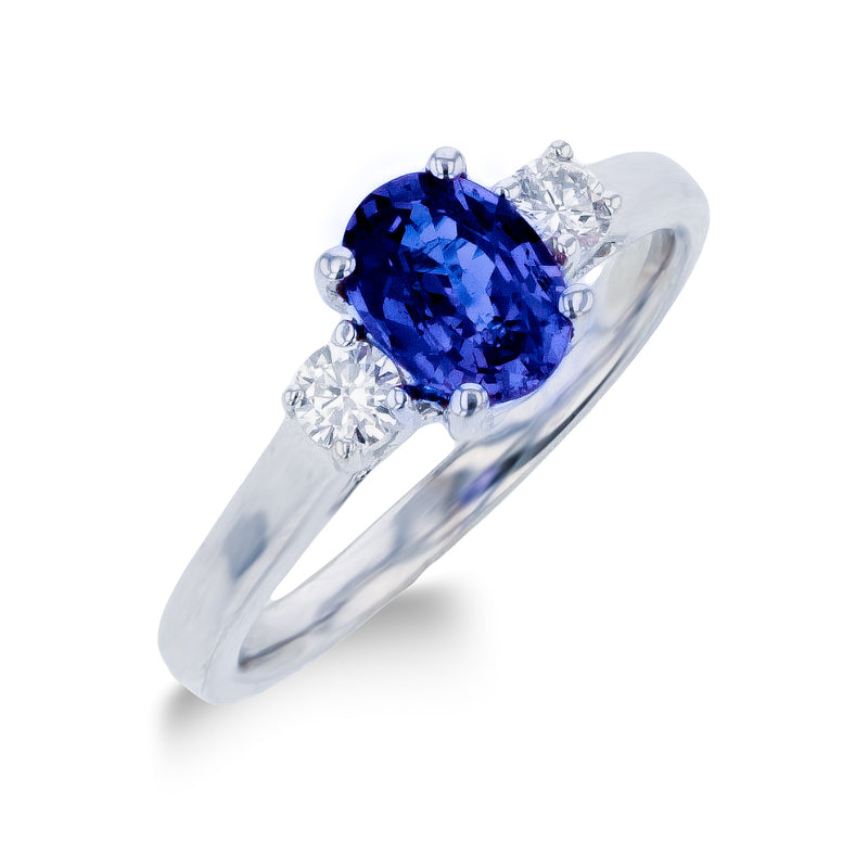 1.0ct Sapphire Ring With .25ct Diamonds 14k White Gold
